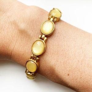Vintage gold & yellow gemstone segment bracelet